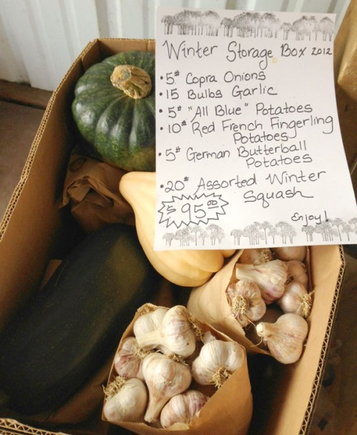 Winter Storage box of vegatables