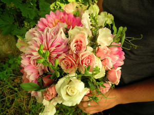Bridal Bouquet with dahlias and roses