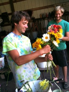 2012 apprentices Ben and Cody making bouquets last Summer