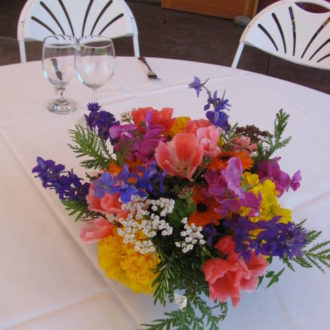 Summer flower wedding table centerpiece