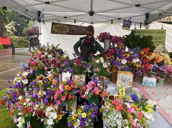 Persephone Farm bouquets for sale at the Bainbridge Farmers Market